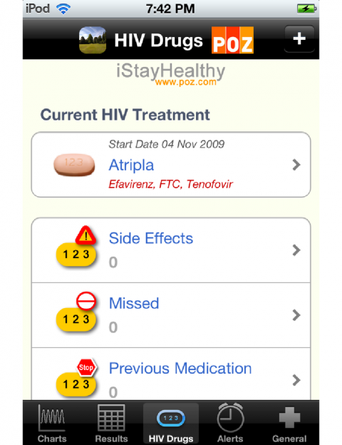 'iStayHealthy' App for keeping track of your test results and setting reminders for when to take your Meds